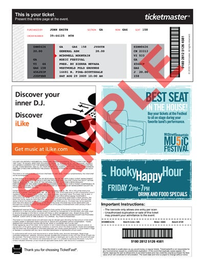Sample Print-at-Home Ticket