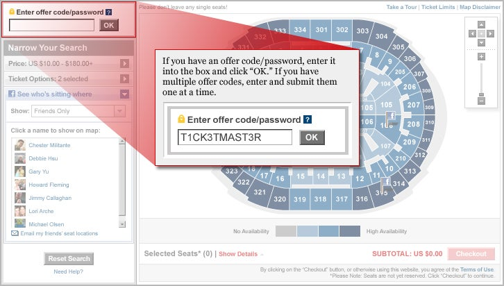 How to use a Ticketmaster coupon