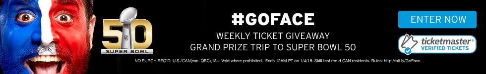 #GoFace - Weekly Ticket Giveaway, Grand Prize trip to Super Bowl 50